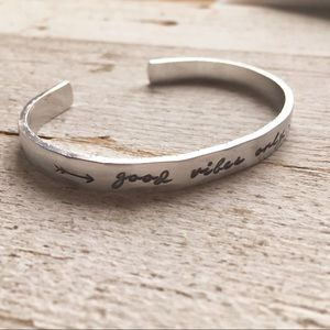 Jewelry - Good Vibes Only stamped bracelet cuff